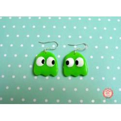 Boucle d'oreille Pacman Fantômes vert fluo